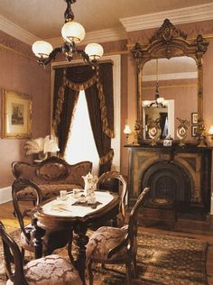 Love the sepia tone of this Victorian parlor. Nice old fireplace - when do you ever see these? *~❤•❦•:*´`*:•❦•❤~*