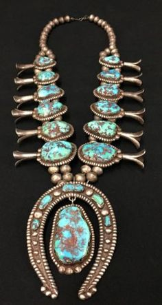 Massive-Vintage-Turquoise-amp-Sterling-Silver-Squash-Blossom-Necklace-Signed