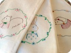 Embroidery Pattern Trio - Bunny, Squirrel, Hedgehog (PDF pattern to buy)