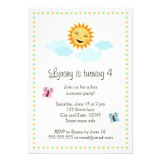 Summer birthday party invitation with butterflies