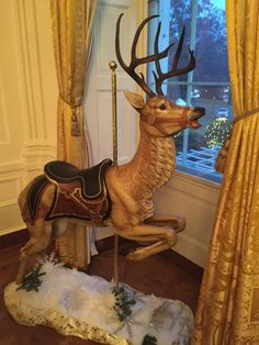 Four carousel deer from the Merry-Go-Round Museum in Sandusky, Ohio are on display in the East Room of the White House for their 2014 Christmas Display. Sea Isle City, Merry Go Round, Carousel Horses, Lake Erie, Winter Wonderland, Giraffe, Deer, Museum, Sandusky Ohio