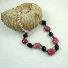 Necklace, Pink Crystal and Navy Blue Acrylic