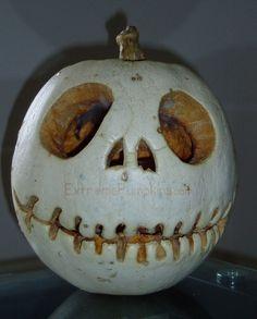 jack skellington pumpkin halloween white pumpkin Halloween decorating idea