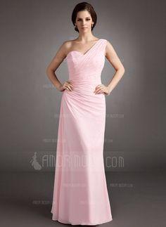 Corte A/Princesa Un sólo hombro Vestido Gasa Vestido de baile de promoción con Volantes Bordado Lentejuelas (018004997)