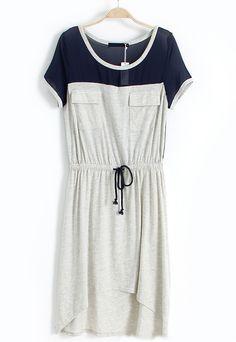 Drawstring Waist High Low Dress - Sheinside.com