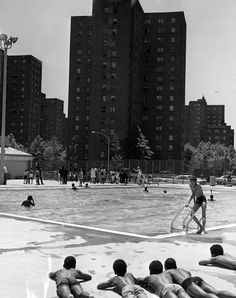 Children soak in the sun at the Kosciusko wading pool, circa 1971.  #pool #newyork