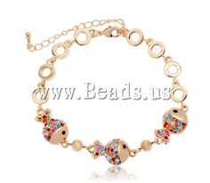 Zinc Alloy Bracelet, Fish, gold color plated, with Austria rhinestone, nickel, lead & cadmium free, 11mm,china wholesale jewelry beads