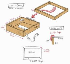 plan table a dessin Fabrication Table, Diy Light Table, Shadow Box Picture Frames, Art Studio Room, Wooden Toy Cars, Diy Screen Printing, Coffee Table Plans, Silhouette Cameo Tutorials, Hobby Room