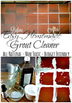 How to make homemade grout cleaner - Stubborn stains on your grout? This easy homemade grout cleaner can help! It's so easy to make and works with no scrubbing! What more could you want from an all natural and super budget friendly cleaner? by tanisha