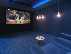 The starry ceiling sets the mood for a relaxing night of movies. #hometheater