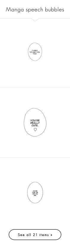 """Manga speech bubbles"" by cmarnoldrr ❤ liked on Polyvore featuring fillers, text, words, quotes, set, phrase, saying, art, doodles and backgrounds"