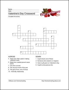 Valentines Day Crossword Puzzle  Holidays and Holiday fun