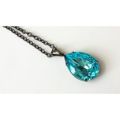Aquamarine Teardrop Necklace Boho Chic Necklace Teardrop Rhinestone... ❤ liked on Polyvore featuring jewelry and necklaces
