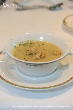 Soup: Cream of Roasted Garlic with Herb Croutons. Click on the image for the #recipe! #food #travel