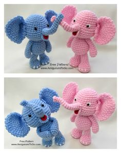 Adorable Crochet Elephant Amigurumi Free Patterns Enormous cuddly crochet elephants are sure to be a hit. These Adorable Crochet Elephant Amigurumi Free Patterns are just what you need to make one. Crochet Elephant Pattern, Crochet Dolls Free Patterns, Crochet Doll Pattern, Amigurumi Patterns, Amigurumi Tutorial, Crochet For Kids, Free Crochet, Crochet Gifts, Crochet Animals