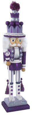 "Kurt Adler Collectible Purple/White 19"" Glittered Nutcracker Guard::Hollywood Holiday Christmas Nutcracker"