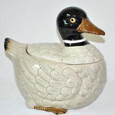 Otagiri Duck Cookie Jar Vintage 80s Ceramic Brown Black
