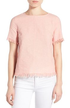 cupcakes and cashmere 'Harlowe' Fringe Woven Top available at #Nordstrom