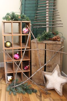 Giant Rustic Star made from branches! Perfect touch to Rustic Christmas decor! Homemade Christmas Decorations, Christmas Tree Crafts, Rustic Christmas, Christmas Traditions, Christmas Holidays, Christmas Ornaments, Christmas Ideas, Holiday Day, Holiday Decor