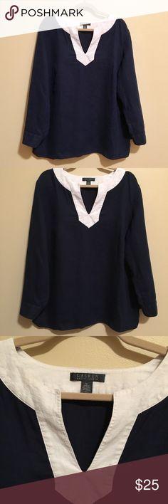 Ralph Lauren Navy & White Linen Tunic 1X Excellent condition. Ralph Lauren Tops Tunics