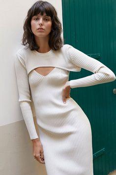 Elegant Party Dresses, Cute Dresses, Sweater Dresses, Trendy Dresses, Knit Fashion, Mom Fashion, Winter Fashion, Fashion Design, Sweater Set