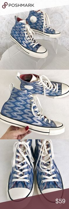 Missoni for Converse hi-top Chucks sz 9.5 I ❤❤❤ these! Limited Edition hi-top Converse Chucks in a gorgeous blue Missoni knit--with a some sparkle from a bit of metallic aqua thread woven in. White rubber and laces; white leather tongue and badge. NWOT; never worn out of the house--they're just too big for me. In excellent condition, in original box. Missoni Shoes Sneakers