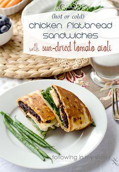 Easy Chicken Flatbread Sandwiches with Sun-dried Tomato Aioli