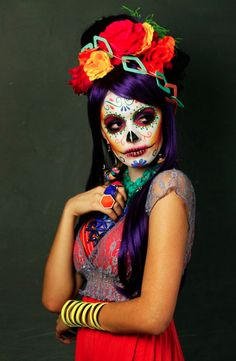 Makeup Dia de muertos-Mexico, cultura, tradicion - Calavera Catrina Day of the death Looks Halloween, Halloween Costumes, Halloween Face Makeup, Sugar Skull Makeup, Sugar Skull Art, Sugar Skull Face Paint, Sugar Skull Costume, Sugar Scull, Maquillaje Sugar Skull