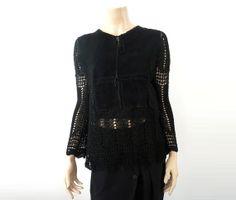 RENEE DERHY French Vintage Black Suede Crochet Blouse by bOmode, $69.00