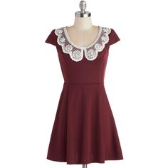 Fairest of Them All Dress ($40) ❤ liked on Polyvore featuring dresses, modcloth, red, pearls, solid, short, peter pan collar, party, a-line and lace