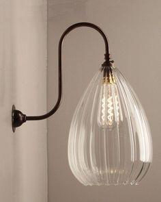 Teardrop Ribbed Glass Swan Neck Wall Light, Wellington Contemporary Lighting