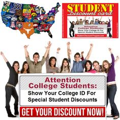 Here is a list of college and university student discount program websites.   Let us create a local Student Discount Program for your college. Its totally FREE... to the school and the student. College Student Discounts, College List, College Campus, Programming Websites, College Students, University, Create, School, Cards