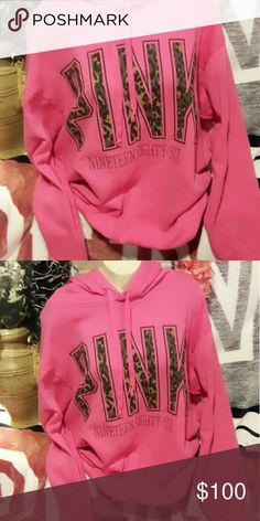 NFS!! WAITING ON DEL....PINK Pullover Hoodie.... Pre Owned.. in great condition...       Pink with Cheetah Logo...  Size Medium .. Oversized..will fit Large to X Large  Minimal Pilling  . No cracking or peeling ... PINK Victoria's Secret Tops Sweatshirts & Hoodies