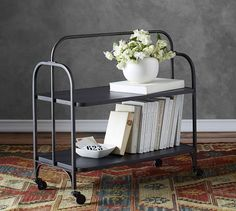 From Pottery Barn: We love a hardworking piece of furniture that can add industrial character and style to any room in the home. Our Collins Metal Storage Cart was inspired by an Home Bar Furniture, Farmhouse Furniture, Entryway Furniture, Furniture Ideas, Farmhouse Decor, Furniture Design, Storage Cart, Bench With Storage, Storage Benches