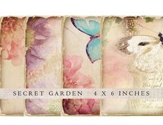 4 Shabby Chic Secret Garden Images to download and print  Images measure approx 6 x 4 inches and are high quality 300 dpi.  They will print on 8.5