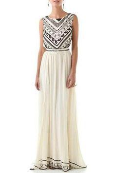 Jewel Neck Geometric Pattern Dress OFF-WHITE: Maxi Dresses | ZAFUL