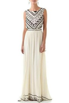 Jewel Neck Geometric Pattern Dress OFF-WHITE: Maxi Dresses | ZAFUL
