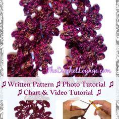 Lotus Flower Lace Scarf - Free Crochet Vintage Pattern