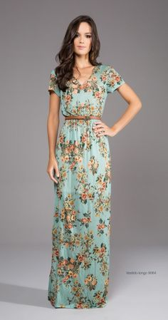 A beautiful mint blue floral dress.