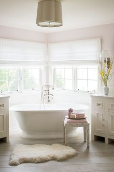 Pink Master Bathroom with Corner Tub - Transitional - Bathroom Luxury Interior Design, Home Design, Design Ideas, Design Inspiration, Stand Alone Tub, Corner Tub, Corner Soaking Tub, Relax, Up House