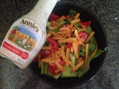 Annie's Homegrown Cowgirl Ranch Salad Dressing #romaine #greenbellpepper #redbellpepper #tomato #tortillastrips everyday in the life of b: food