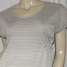 """Petite gray and white striped shirt size PS Small Pullover, gathered side. Bust is 40-46"""" and length is 23"""". Sonoma Tops Tunics"""