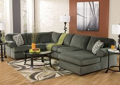 Jessa Place Pewter Right Facing Chaise Sectional, /category/living-room/jessa-place-pewter-right-facing-chaise-sectional.html