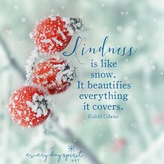 Let's be like snow. xo Get the app of cute wallpapers at ~ www.everydayspirit.net xo #kindness #Gibran #snow