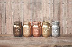 5 Painted mason jars. Bronze rose gold