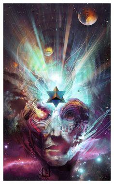Merkabah by btrabu Psychedelic Art, Arte Pink Floyd, Cosmic Art, Psy Art, Visionary Art, Fractal Art, Sacred Geometry, Occult, Trippy