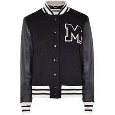MOSCHINO Varsity Jacket (23.308.585 VND) ❤ liked on Polyvore featuring outerwear, jackets, tops, coats, collar leather jacket, varsity bomber jacket, logo jackets, oversized jacket and teddy jacket