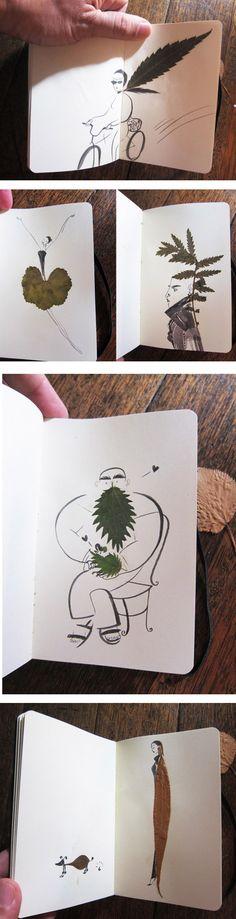 Folhas de árvore viram arte em sketchbook