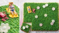 """Blechkuchen """"Es grünt so grün""""   Backrezept für einen Blechkuchen, der aussieht wie ein grüner Rasen. Wir haben ihm deshalb den Namen """"Es grünt so grün"""" gegeben."""