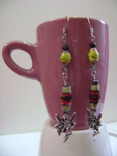 Upcycled Paper Bead Earrings  Bright Green by NightLightCrafts, $18.00